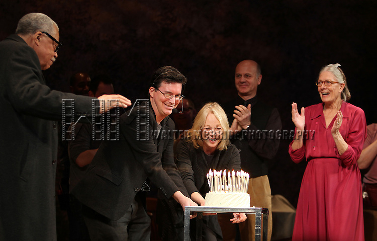 'Driving Miss Daisy'  celebrates James Earl Jones' 80th Birthday with Vanessa Redgrave & Boyd Gaines during the Curtain Call at the Golden Theatre in New York City.