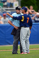 State College Spikes manager Oliver Marmol #7 argues with umpire Brennan Miller during a game against the Batavia Muckdogs on June 30, 2013 at Dwyer Stadium in Batavia, New York.  State College defeated Batavia 7-2.  (Mike Janes/Four Seam Images)