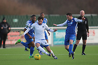 James Ishmail of Romford and Glenn Poole of Grays during Grays Athletic vs Romford, Bostik League Division 1 North Football at Parkside on 1st January 2018