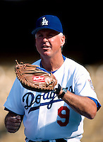 Los Angeles Dodgers Coach Mickey Hatcher participates in a Major League Baseball game at Dodger Stadium during the 1998 season in Los Angeles, California. (Larry Goren/Four Seam Images)