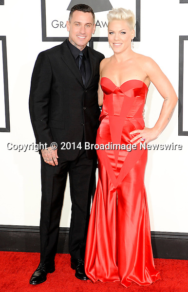 Pictured: Pink, Carey Hart<br /> Mandatory Credit &copy; Adhemar Sburlati/Broadimage<br /> The Grammy Awards  2014 - Arrivals<br /> <br /> 1/26/14, Los Angeles, California, United States of America<br /> <br /> Broadimage Newswire<br /> Los Angeles 1+  (310) 301-1027<br /> New York      1+  (646) 827-9134<br /> sales@broadimage.com<br /> http://www.broadimage.com