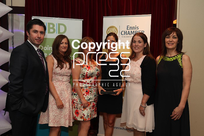 Ciaran O Flaherty-Ulster Bank, Ide O Keefe - FBD, Kerry Richards, Paula mcDonnell, Emma Jarvis, Joan Reily - TTM Healthcare pictured at the FBD Clare Business Excellence Awards 2012 in the Auburn Lodge on Friday night. Pic. Brian Arthur/ Press 22.