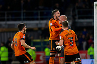John Ruddy of Wolves celebrates saving a first penalty in injury time of the Sky Bet Championship match between Cardiff City and Wolverhampton Wanderers at the Cardiff City Stadium, Cardiff, Wales on 6 April 2018. Photo by Mark  Hawkins / PRiME Media Images.