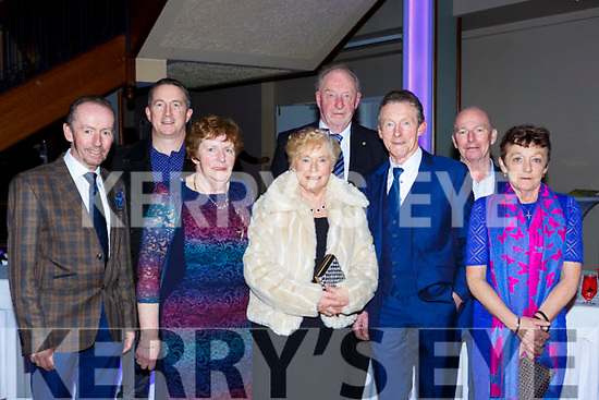 Brendan O'Shea, Noreen Diver, Barry O'Shea, Eileen Murphy, Tom Murphy, Patrick O'Shea, Jack O'Shea and Nuala O'Dwyer Caherciveen at the Kerry Sports Stars awards in the INEC on Friday night
