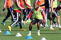 Pictured: Dwight Tiendalli Wednesday 05 November 2014<br /> Re: Swansea City FC players training at Fairwood training ground, ahead of their Premier League game against Arsenal on Sunday.