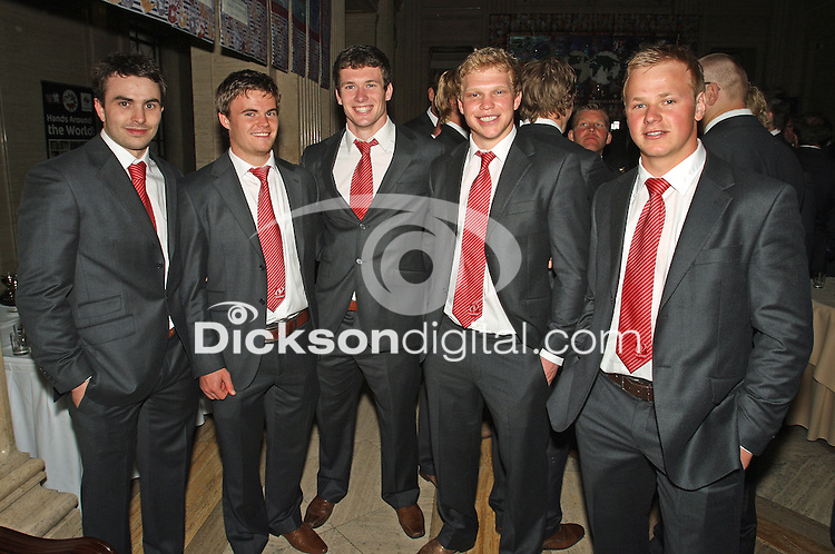 Monday 21st May May 2012  James McKinney, Ian Porter, Ian Whitten, Nevin Spence and Luke Marshall at the Ulster Rugby Reception hosted by the First Minister and Deputy First Minister at Parliament Buildings, Stormont, Belfast.<br /> <br /> Photo Credit - John Dickson / DICKSONDIGITAL