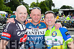 Castleisland cyclists Keith McCarthy, Mikey Hickey and Francie Brosnan celebrate at the finish of the Ring of Kerry cycle in Killarney on Saturday