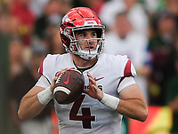 NWA Democrat-Gazette/CHARLIE KAIJO Arkansas Razorbacks quarterback Ty Storey (4) looks for a receiver during the second quarter of a football game, Saturday, September 8, 2018 at Colorado State University in Fort Collins, Colo.