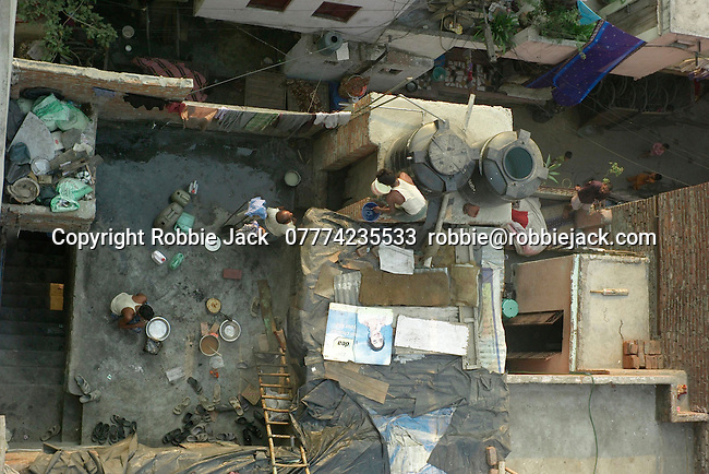 Rooftops in the Paharganj district of New Delhi, India.