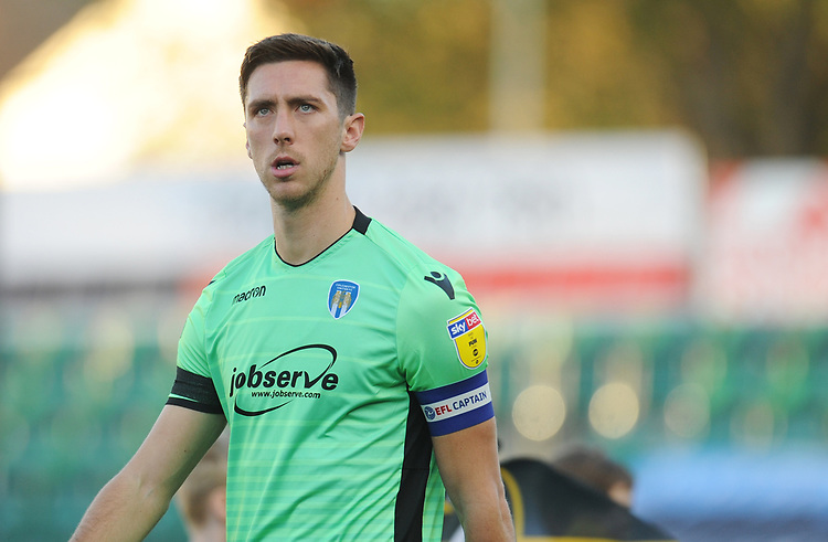 Colchester United's Luke Prosser<br /> <br /> Photographer Kevin Barnes/CameraSport<br /> <br /> The EFL Sky Bet League Two - Newport County v Colchester United - Saturday 17th November 2018 - Rodney Parade - Newport<br /> <br /> World Copyright © 2018 CameraSport. All rights reserved. 43 Linden Ave. Countesthorpe. Leicester. England. LE8 5PG - Tel: +44 (0) 116 277 4147 - admin@camerasport.com - www.camerasport.com