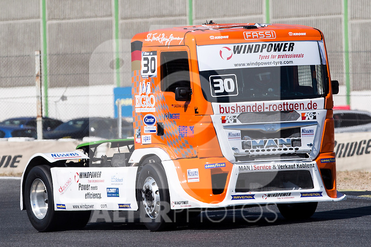 German driver Sascha Lenz belonging German team Sascha Lenz during the super pole SP1 of the XXX Spain GP Camion of the FIA European Truck Racing Championship 2016 in Madrid. October 01, 2016. (ALTERPHOTOS/Rodrigo Jimenez)