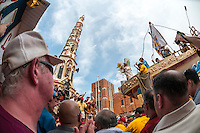 Brooklyn, New York -12 July 2015 120 parishioners of Our Lady of Carmel carry the Gilio through the streets for the annual Dance of the Gilio, during the Italian American Feast