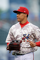 Harrisburg Senators left fielder Juan Soto (10) jogs off the field during the second game of a doubleheader against the New Hampshire Fisher Cats on May 13, 2018 at FNB Field in Harrisburg, Pennsylvania.  Harrisburg defeated New Hampshire 2-1.  (Mike Janes/Four Seam Images)