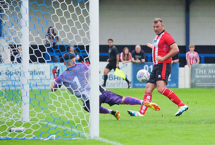 Lincoln City's Matt Rhead scores his side's second goal<br /> <br /> Photographer Chris Vaughan/CameraSport<br /> <br /> Football Pre-Season Friendly (Community Festival of Lincolnshire) - Gainsborough Trinity v Lincoln City - Saturday 6th July 2019 - The Martin & Co Arena - Gainsborough<br /> <br /> World Copyright © 2018 CameraSport. All rights reserved. 43 Linden Ave. Countesthorpe. Leicester. England. LE8 5PG - Tel: +44 (0) 116 277 4147 - admin@camerasport.com - www.camerasport.com