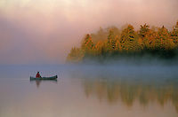 Canoeing on misty morning, Quetico Provincial Park, Ontario, Canada, AGPix_0027.