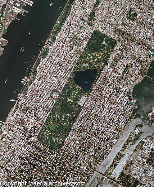 Manhattan To New York City: Aerial Photo Map Of Midtown Manhattan Including Central
