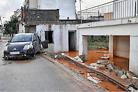 Pictured: A flooded lower floor of a house in Messini, near the town of Kalamata, Messinia, Greece. Wednesday 07 September 2016<br /> Re: Severe flash flooding has affected parts of Messinia County in southern Greece.