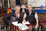 Noel Ó Mhurchú and John Benny Moriarty organizing their school reunion in Dingle.