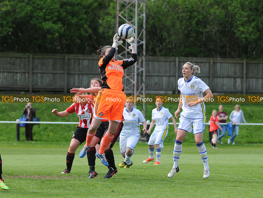 Sunderland goalkeeper Rachel Laws collects a cross - Sunderland Women vs Leeds United Ladies - FA Womens Premier League Football at the Hetton Centre - 26/05/13 - MANDATORY CREDIT: Steven White/TGSPHOTO - Self billing applies where appropriate - 0845 094 6026 - contact@tgsphoto.co.uk - NO UNPAID USE.