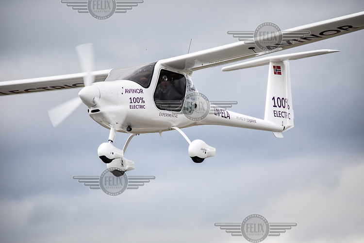June 18th 2018 saw the first official flight by an electric aircraft in Norway. <br /> <br /> Civil Aviation Authority (Avinor) CEO Dag Falk-Petersen took  Minister of Transport and Communications Ketil Solvik-Olsen for a short flight around Gardermoen Airport. <br /> <br /> The plane is battery operated and signals a focus on more envorinmentally friendly solutions for the fututre. The project is supported by the government, and the project partners are Widerøe, SAS, the Norwegian Association of Air Sports, and climate foundation ZERO.<br /> <br />  © Fredrik Naumann/Felix Features