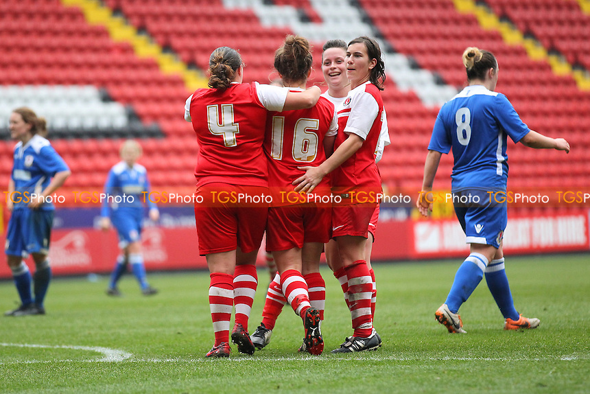 Kit Graham of Charlton Athletic Women scores the second goal for her team and celebrates with her team mates - Charlton Athletic Women vs Cardiff City Ladies - FA Womens Premier League Cup Semi-Final Football at the Valley, Charlton - 15/03/15 - MANDATORY CREDIT: Gavin Ellis/TGSPHOTO - Self billing applies where appropriate - contact@tgsphoto.co.uk - NO UNPAID USE