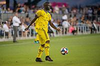 San Jose, CA - Saturday August 03, 2019: Jonathan Mensah #4 in a Major League Soccer (MLS) match between the San Jose Earthquakes and the Columbus Crew at Avaya Stadium.