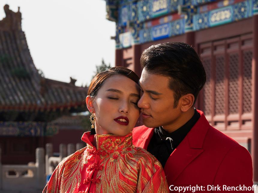 Brautpaar im Kulturpalast der Werkt&auml;tigen, Peking, China, Asien<br /> Bridal Couple in Cultural Palace of the working peopleim, Beijing, China, Asia
