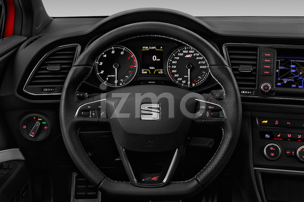 Car pictures of steering wheel view of a 2016 Seat Leon CUPRA 280 5 Door Hatchback Steering Wheel
