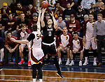 SIOUX FALLS, SD: MARCH 20:  Steve Harris #10 of East Stroudsburg shoots over Carter Evans #54 of Northern State during their game at the 2018 Division II Men's Elite 8 Basketball Championship at the Sanford Pentagon in Sioux Falls, S.D. (Photo by Dick Carlson/Inertia)