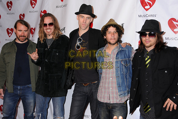 BLIND MELON - GLEN GRAHAM, BRAD SMITH, ROGER STEVENS, CHRISTOPHER THORN & TRAVIS WARREN.4th Annual MusiCares MAP Fund Benefit Concert at the Music Box Theatre, Hollywood, California, USA..May 9th, 2008.half length black grey gray hat sunglasses shades blue denim jacket hand gesture green .CAP/ADM/BP.©Byron Purvis/AdMedia/Capital Pictures.