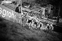 U23 riders crawling their way up &quot;Le Mur&quot; de Francorchamps (50% gradient!)<br /> <br /> Superprestige Francorchamps 2014