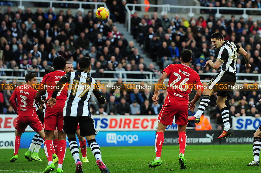 Aleksandar Mitrovic of Newcastle United misses a great chance during Newcastle United vs Bristol City, Sky Bet EFL Championship Football at St. James' Park on 25th February 2017