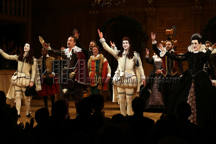 Samuel Barnett, Joseph Timms, Mark Rylance and the Cast during the Broadway Opening Night Performance Curtain Call for 'Twelfth Night' at the Belasco Theatre on November 10, 2013 in New York City.