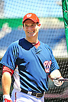 3 July 2010: Washington Nationals' outfielder Josh Willingham awaits his turn in the batting cage prior to a game against the New York Mets at Nationals Park in Washington, DC. The Nationals defeated the Mets 6-5 in the third game of their 4-game series. Mandatory Credit: Ed Wolfstein Photo