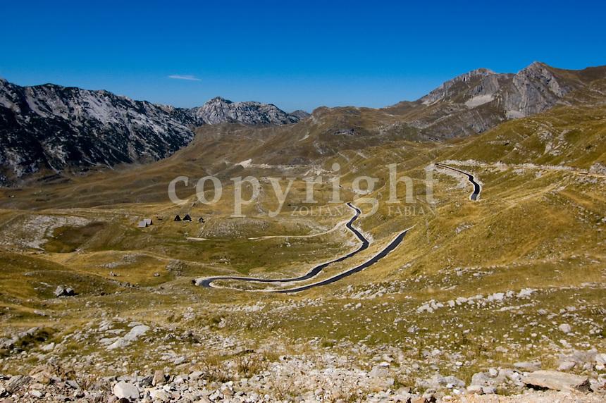 Brand new narrow cranky asphalt road in the Durmitor National Park, Montenegro, Europe