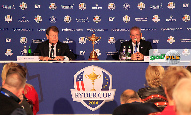 Ryder Cup Captains Paul McGinley and Tom Watson supporting the development of youth golf at Gleneagles and to mark the Year To Go to the 2014 Ryder Cup at Gleneagles.<br /> Picture:  Thos Caffrey / www.golffile.ie