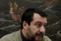 Roma,13 Novembre 2019<br /> Matteo Salvini in Conferenza stampa sulla manovra economica alla Sala Salvadori davanti ad un dipinto della Battaglia di Lepanto raffigurante barche e naufraghi in mare