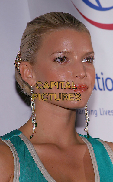 JESSICA SIMPSON.Operation Smiles - 3rd Annual Los Angeles Gala held at the Beverly Hilton Hotel. .21 September, 2004.headshot, portrait, dangling earrings.www.capitalpictures.com.sales@capitalpictures.com.© Jacqui Wong/AdMedia/Capital Pictures.