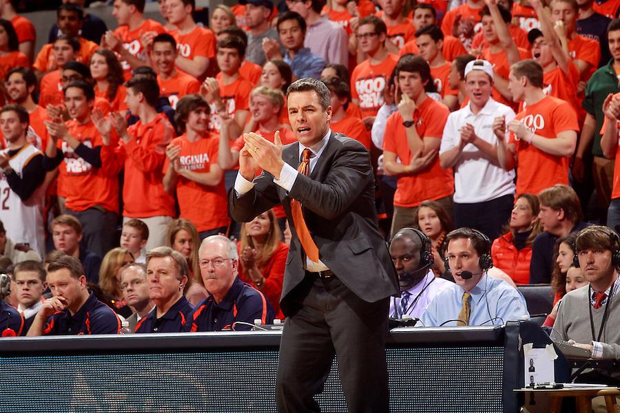 Virginia head coach Tony Bennett during an NCAA basketball game Saturday Feb. 7, 2015, in Charlottesville, Va. Virginia defeated Louisville  52-47. (Photo/Andrew Shurtleff)