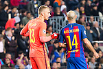 FC Barcelona's Jasper Cilissen, Javier Mascherano  during Champions League match between Futbol Club Barcelona and VfL Borussia Mönchengladbach  at Camp Nou Stadium in Barcelona , Spain. December 06, 2016. (ALTERPHOTOS/Rodrigo Jimenez)
