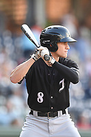 Second baseman Zach Remillard (8) of the Kannapolis Intimidators bats in a game against the Greenville Drive on Friday, July 14, 2017, at Fluor Field at the West End in Greenville, South Carolina. Greenville won, 2-0. (Tom Priddy/Four Seam Images)