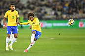 June 9th 2017, Melbourne Cricket Ground, Melbourne, Australia; International Football Friendly; Brazil versus Argentina; Willian Silva of Brazil shoots on goal from a free kick