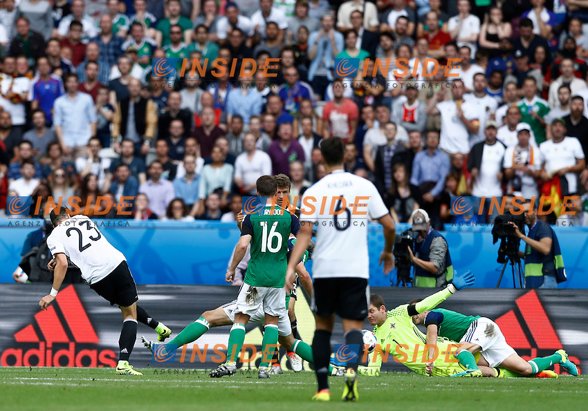 Mario Gomez Germany scores goal of 1-0. Gol Germania <br /> Paris 21-06-2016 Parc des Princes Footballl Euro2016 Northern Ireland - Germany  / Irlanda del Nord - Germania Group Stage Group C. Foto Matteo Ciambelli / Insidefoto