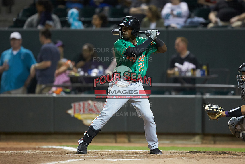 Julio Pablo Martinez (23) of the Down East Wood Ducks at bat against the Winston-Salem Dash at BB&T Ballpark on May 10, 2019 in Winston-Salem, North Carolina. The Wood Ducks defeated the Dash 9-2. (Brian Westerholt/Four Seam Images)