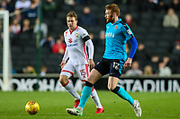 Fleetwood Town's Cian Bolger competing with Milton Keynes Dons' Ryan Seager<br /> <br /> Photographer Andrew Kearns/CameraSport<br /> <br /> The EFL Sky Bet League One - Milton Keynes Dons v Fleetwood Town - Saturday 11th November 2017 - Stadium MK - Milton Keynes<br /> <br /> World Copyright &copy; 2017 CameraSport. All rights reserved. 43 Linden Ave. Countesthorpe. Leicester. England. LE8 5PG - Tel: +44 (0) 116 277 4147 - admin@camerasport.com - www.camerasport.com