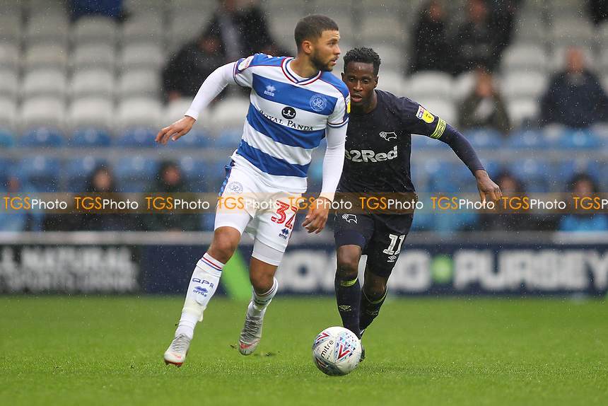 Nahki Wells of Queens Park Rangers and Florian Jozefzoon of Derby County during Queens Park Rangers vs Derby County, Sky Bet EFL Championship Football at Loftus Road Stadium on 6th October 2018