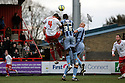 Darius Charles of Stevenage and Damion Stewart of Notts County contest a header. Stevenage v Notts County - FA Cup 4th Round - Lamex Stadium, Stevenage - 28th January 2012 . © Kevin Coleman 2012