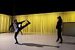 SLOGANS / OPUS 1..Conception, chorégraphie et scénographie :..Hervé ROBBE..Interprétation : Julien ANDUJAR, Bastien LEFÈVRE,..Alexis JESTIN..Lumières : François MAILLOT..Vidéo : Vincent BOSC..Musique : Ludwig van BEETHOVEN,..concerto pour piano n°3 en ut mineur op. 37..Régie générale : François MAILLOT..Production : Travelling & Co..Coproduction : Centre chorégraphique national..du Havre Haute-Normandie..Durée : 20 min...Lieu : Centre National de la Danse..Ville : Pantin..Date : 07/02/2012..© Laurent Paillier / photosdedanse.com