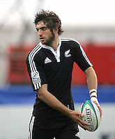 New Zealand second row Samuel Whitelock moves the ball wide during the U19 Championship final against South Africa at Ravenhill, Belfast.