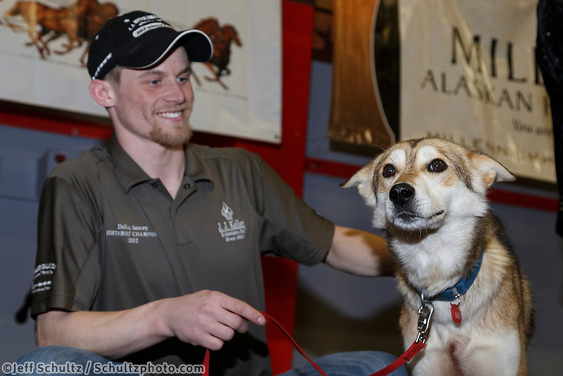 Dallas Seavey's lead dog &quot;Reef&quot; receives the City of Nome Lolly Medley Golden Harness award at the finishers banquet in Nome on Sunday  March 22, 2015 during Iditarod 2015.  <br /> <br /> (C) Jeff Schultz/SchultzPhoto.com - ALL RIGHTS RESERVED<br />  DUPLICATION  PROHIBITED  WITHOUT  PERMISSION
